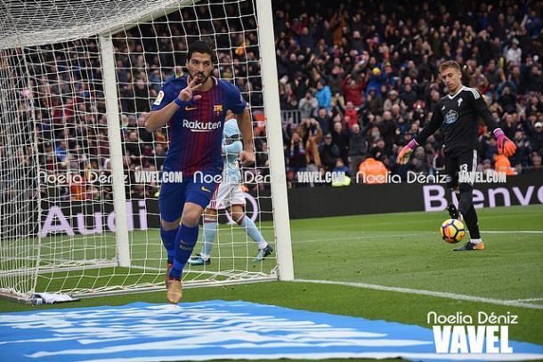 Luis Suárez, con el segundo gol contra el Celta entró dentro del Top-10  de máximos goleadores culés | Foto: Noelia Déniz- VAVEL