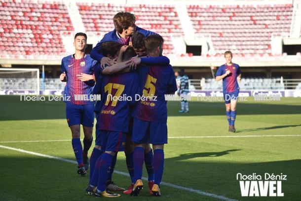 El Juvenil A celebró el gol de su compañero, Edgar Fernández. | Foto: Noelia Déniz, VAVEL