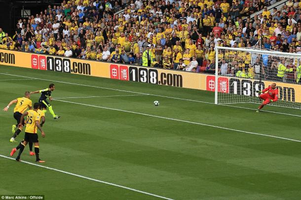 Above: Santi Cazorla opening the scoring in Watford's 3-1 defeat to Arsenal | Photo: Marc Atkins/ Offside
