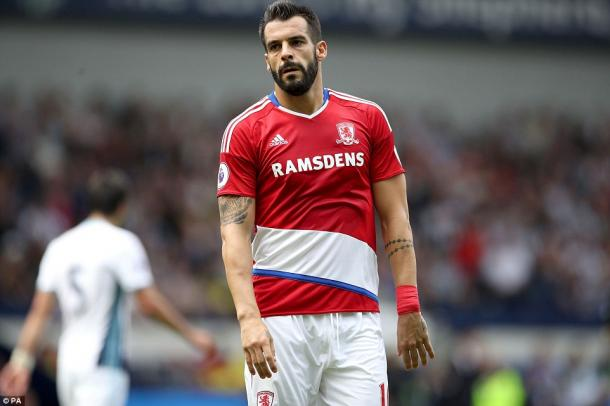 Above: One of Middlesbrough's summer signings Alvaro Negredo in action during their 0-0 draw with West Brom