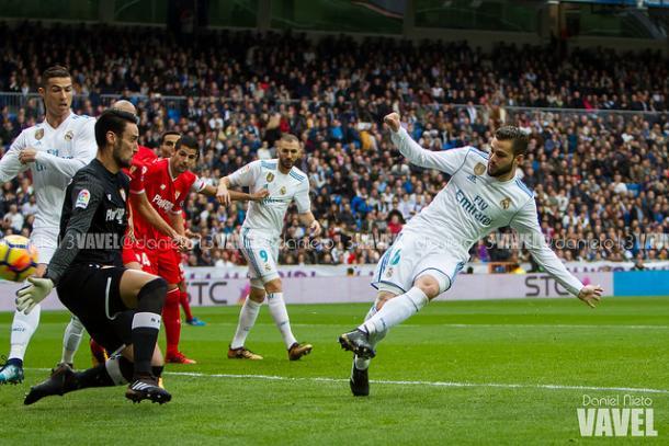 Hasta tres goleadas sufrió el Sevilla. En la imagen el primer gol del Madrid al Sevilla / Foto: VAVEL