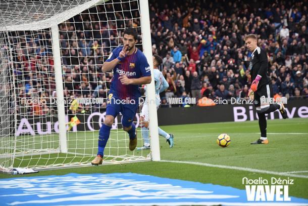 Luis Suárez celebrando un gol frente al Celta de Vigo. Foto: Noelia Déniz, VAVEL.com