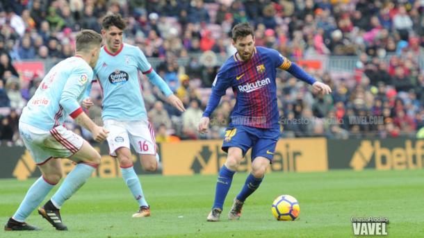 Leo Messi frente al Celta de Vigo en el Camp Nou   Foto: Ernesto Ardilla, VAVEL