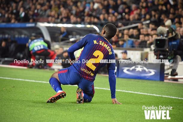 Semedo en un partido de Champions en el Camp Nou /Noelia Déniz (VAVEL)
