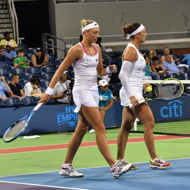 Wickmayer (l.) and Klepac (r.) during the conclusion of the women's doubles set/Photo: John Lupo/VAVEL UK