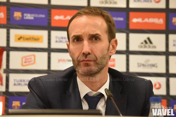 Sito Alonso, entrenador del Barcelona Lassa, en rueda de prensa | Foto: Noelia Déniz (VAVEL)