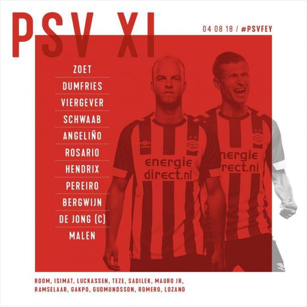 Once inicial de los rojiblancos en la Supercopa de Holanda | Foto: PSV