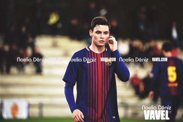 Sergio Gómez en el partido frente al Real Zaragoza. | Foto: Noelia Déniz, VAVEL
