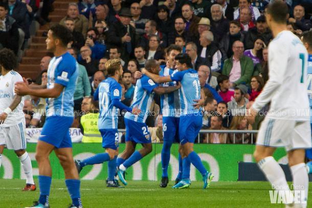 Los jugadores del Málaga festejan un gol que anotaron al Real Madrid I Foto: Daniel Nieto (VAVEL)