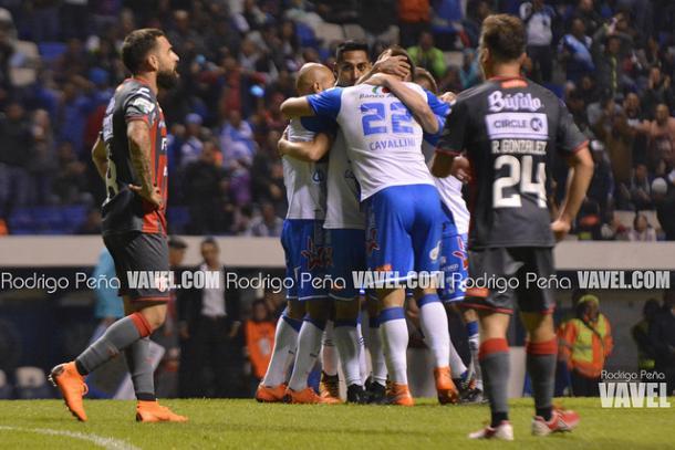Puebla festejando un gol ante Necaxa en el Clausura 2018 I Foto: Rodrigo Peña (VAVEL)