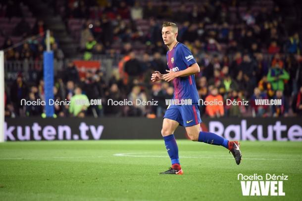 Oriol Busquets en su debut ante el Real Murcia | Foto: Noelia Déniz, VAVEL