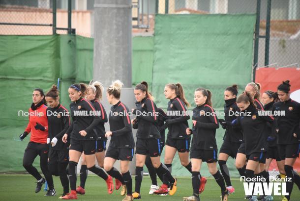 El FC Barcelona femenino en el entrenamiento. | Foto: Noelia Déniz, VAVEL
