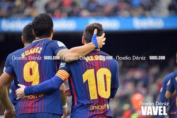Messi y Suárez, celebrando un gol | Foto: Noelia Déniz - VAVEL