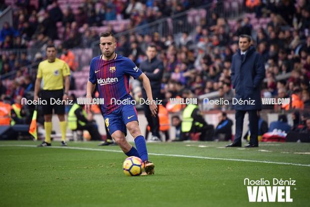 Jordi Alba durante el partido contra el Celta de la jornada 14 de la Liga Santander | Imagen: Noelia Déniz - VAVEL