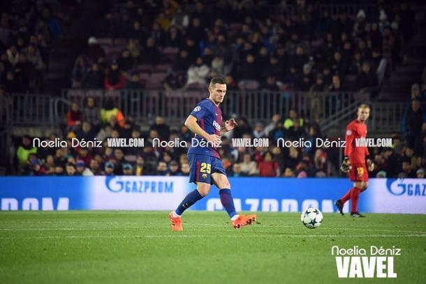 Vermaelen durante el partido FC Barcelona - Sporting CP. Foto: Noelia Déniz, VAVEL.com