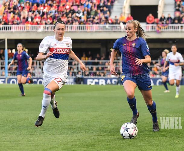 Toni Duggan en el Barcelona - Lyon de la pasada temporada   Fuente: VAVEL