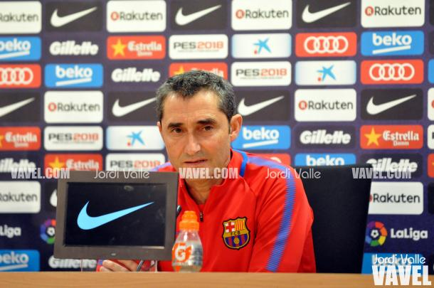 El técnico azulgrana en la rueda de prensa previa al partido / Foto: Jordi Valle (VAVEL.com)