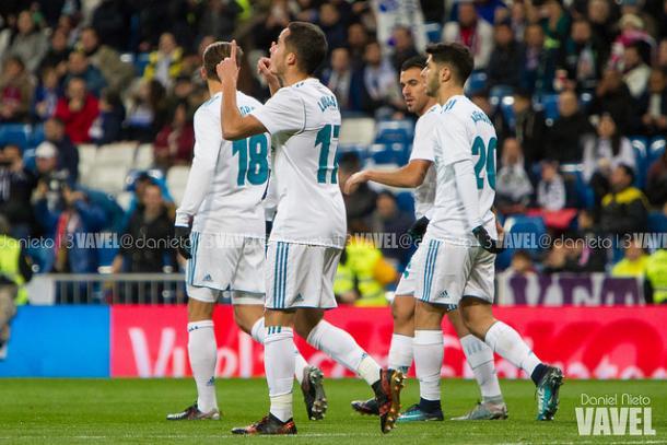 Lucas Vázquez celebra un gol esta temporada | Foto: Daniel Nieto (VAVEL)