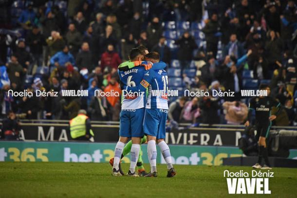 Foto de archivo de los jugadores del Espanyol celebrando un gol | Foto: Noelia Déniz (VAVEL)