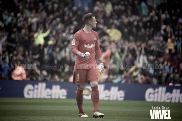 Ter Stegen celebrando el gol del conjunto azulgrana | Foto de Noelia Déniz, VAVEL