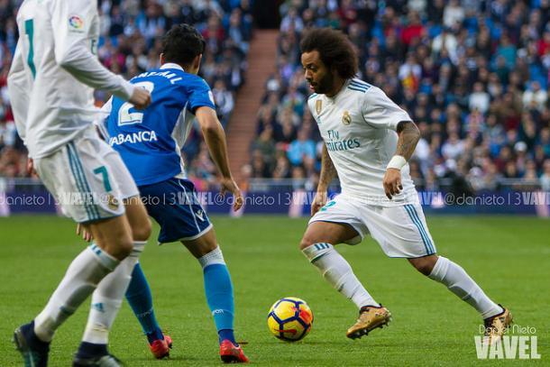 Marcelo en el partido contra el Deportivo donde asistió y marcó I Foto: Daniel Nieto (VAVEL)