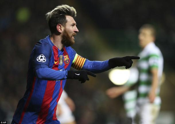 Messi esulta a Celtic Park, www.dailymail.co.uk
