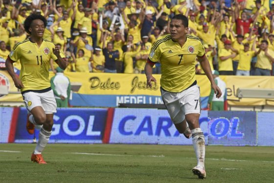 Carlos Bacca (Center) and Juan Cuadrado (Left) will be major players for Los Cafeteros. Photo provided by AFP.