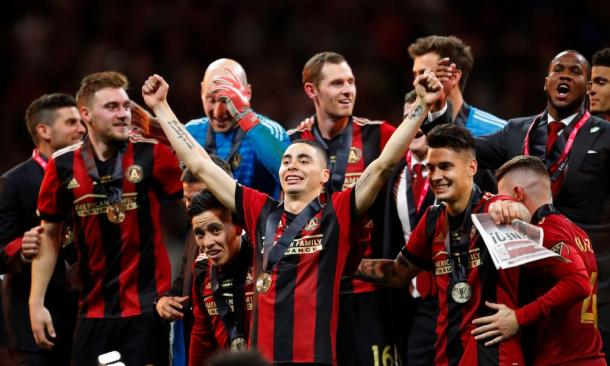 Miguel Almirón celebrates winning the MLS Cup with his teammates | Source: USA TODAY Sports