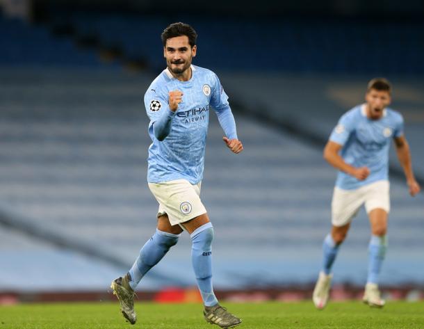Gündogan celebrando el gol de falta.   Fuente: Manchester City