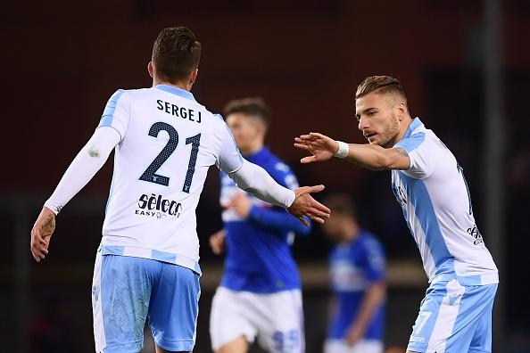 Milinkovic-Savic e Immobile: destaques da Lazio (Foto: Marco Bertorello/AFP)