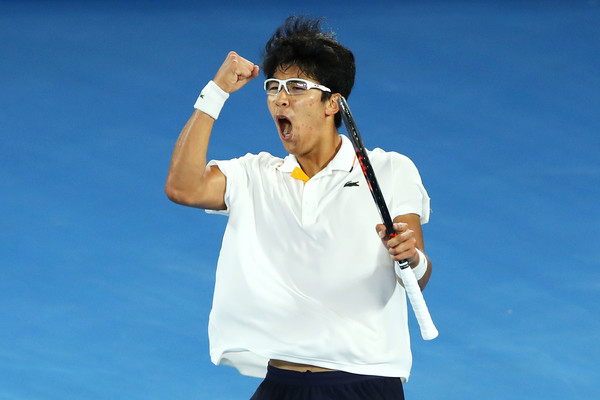 Hyeon Chung celebrates his upset win over Novak Djokovic at the Australian Open. Photo: Getty Images