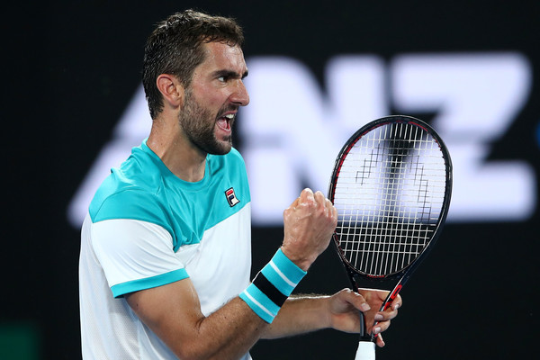 Marin Cilic celebrates a point during the Australian Open final. He returns to action this week in the Davis Cup. Photo: Mark Kolbe/Getty Images