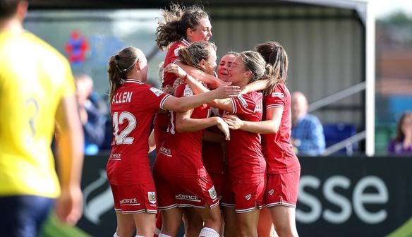 Bristol celebrate their narrow win. (Photo: Bristol City WFC)