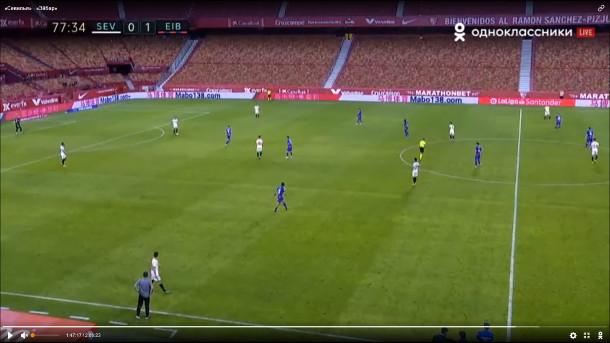 Dibujo 4-2-3-1 y la presión a la salida del Sevilla. Fuente: Livetv.sx