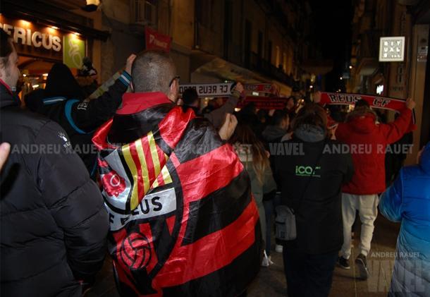 Aficionados del CF Reus en la manifestación   Foto: Andreu Rauet (VAVEL)