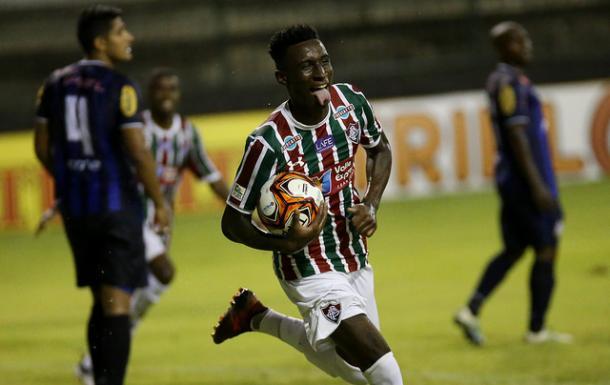Dudu marcou o primeiro gol como profissional (Foto: Divulgação/Fluminense FC)