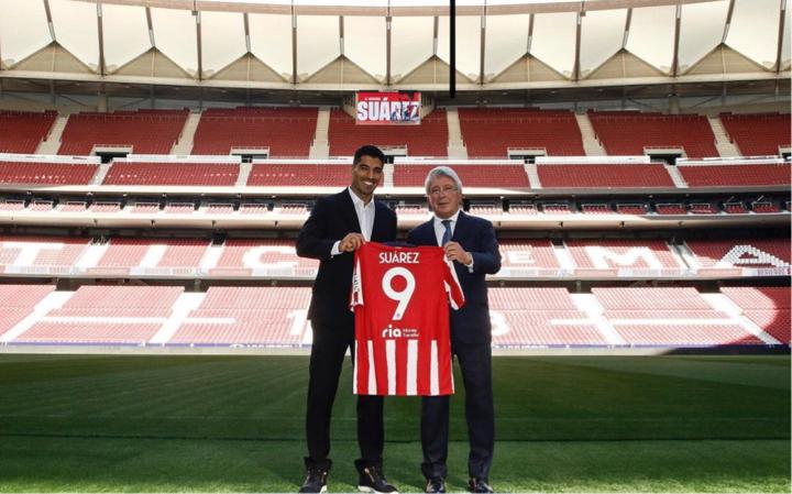 Suárez en su presentación - Fuente: Instagram.com/Atléticodemadrid