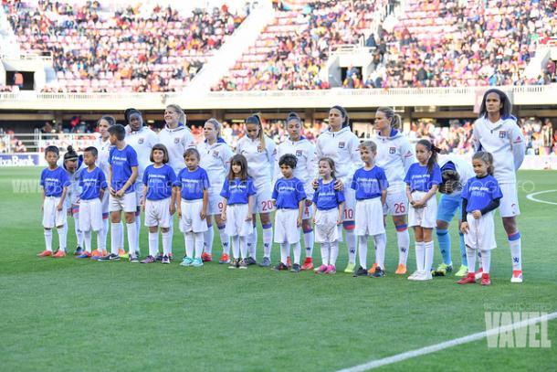 Las jugadoras del Olympique en el Miniestadi la pasada campaña   Fuente: VAVEL