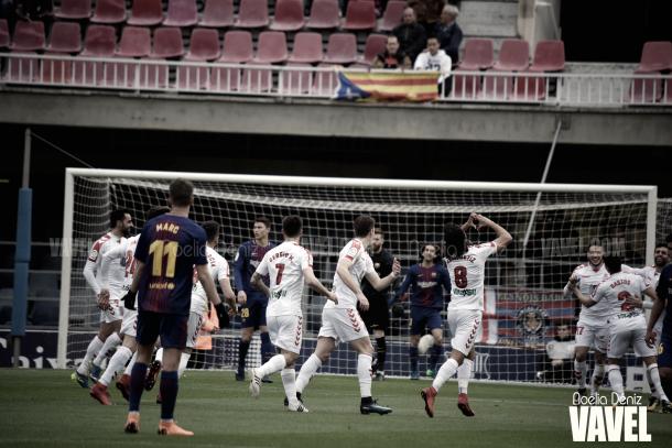Celebración del gol de la Cultural Leonesa | Foto de Noelia Déniz, VAVEL