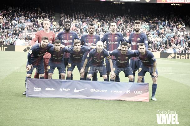 Once inicial del Fútbol Club Barcelona ante el Valencia | Foto de Noelia Déniz, VAVEL