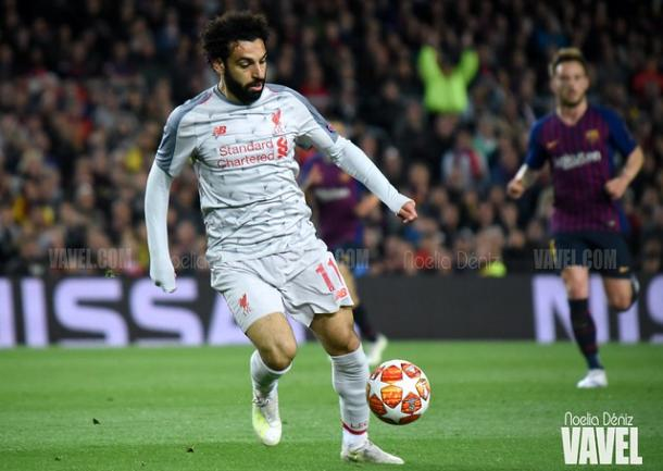Salah en el partido de ida en el Camp Nou | Fuente: Noelia Déniz (VAVEL)