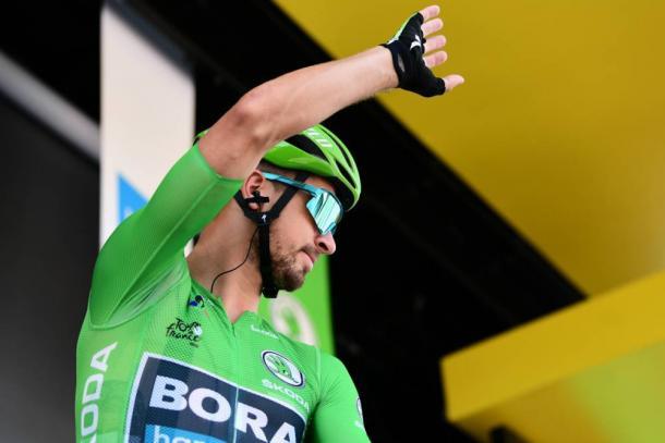Sagan, con el maillot verde de los puntos. | Foto: LeTour