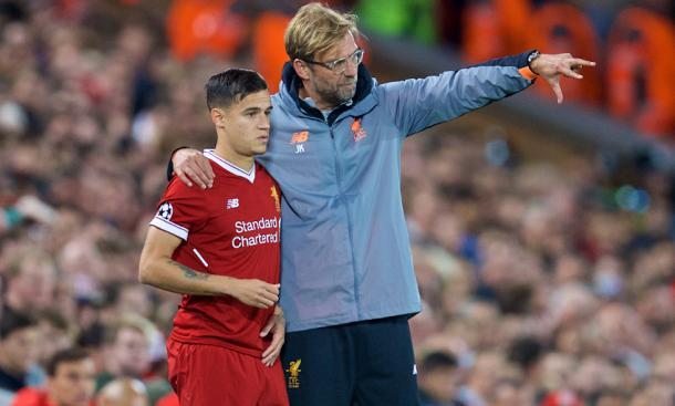 Klopp junto a Coutinho | Imagen: Liverpool FC
