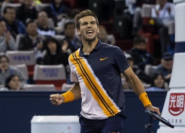 Borna Coric had a breakthrough by reaching his first Masters 1000 semi this week. Photo: Shanghai Rolex Masters