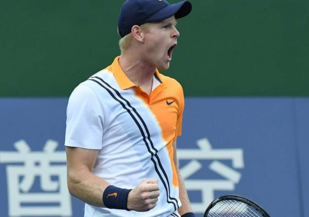 Kyle Edmund celebrates a point in Shanghai. Photo: Getty Images