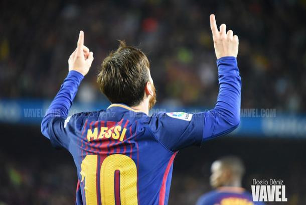 Messi celebra un gol en un clasico | Foto: Noelia Déniz (VAVEL)