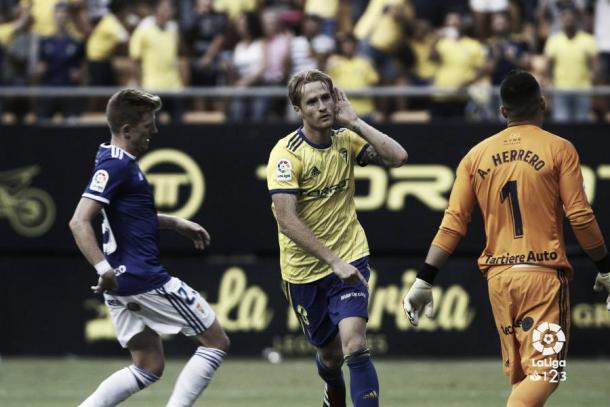 Álex Fernández celebrando un gol | Fotografía: La Liga
