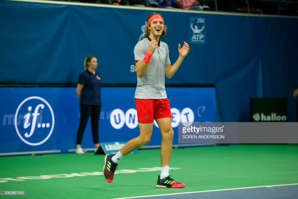 Stefanos Tsitsipas reacts to winning the first title of his career. Photo: Soren Andersson/AFP/Getty Images