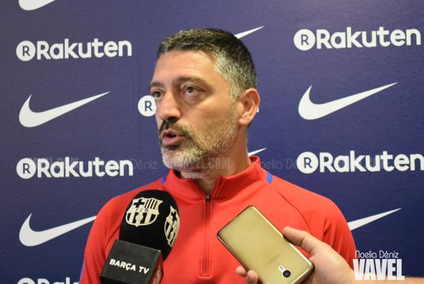 García Pimienta, técnico del filial azulgrana, en la previa del duelo   Foto de Noelia Déniz, VAVEL