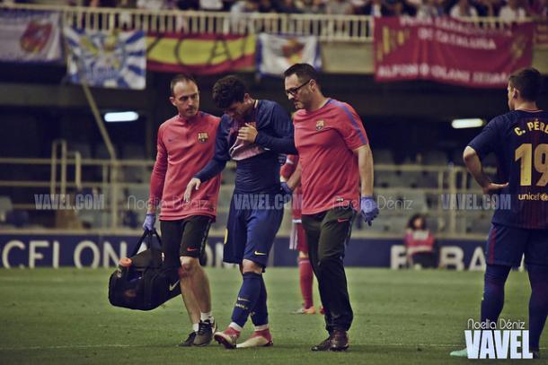 Carles Aleñá retirándose lesionado en la útlima jornada de liga. Foto: Noelia Déniz, VAVEL.com